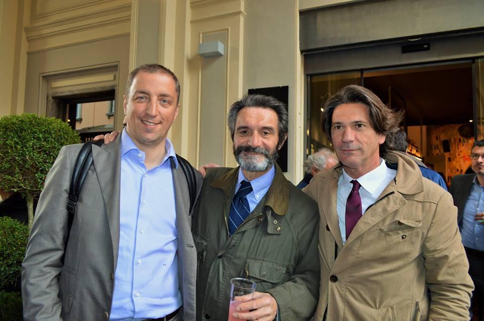 Piero Galparoli con il candidato sindaco Paolo Orrigoni e il sindaco Attilio Fontana